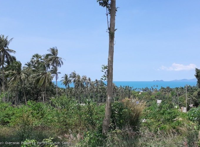 S1829: SEA VIEW KOH SAMUI LAND FOR SALE JUST 600 METERS TO THE BEACH
